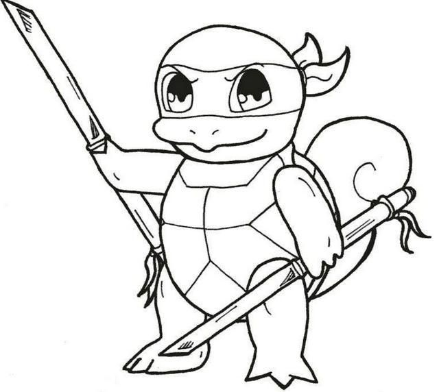 Ninja Squirtle From Pokemon Coloring Picture In 2020 Turtle Coloring Pages Pokemon Coloring Ninja Turtle Coloring Pages