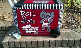 Hand-painted Gameday tailgate Coolio Coolers. Customizable for your team - order here: http://www.facebook.com/groups/5377024169 #Bama