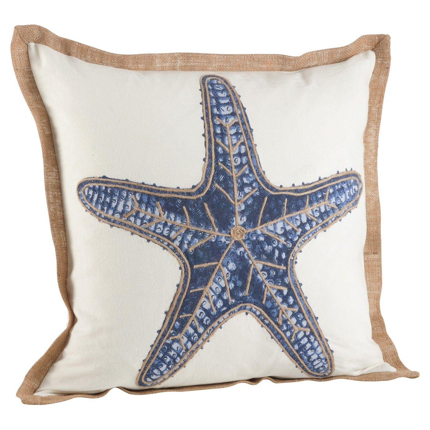 Navy Blue Star Fish Print Cotton Throw Pillow 20 Let Your Quirky And Vibrant Personality Shine With Coastal Throw Pillows Throw Pillows Cotton Throw Pillow