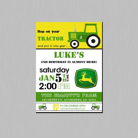 Tractor Birthday Invitation DIY printable by CustomDesignsbyApril, $14.00