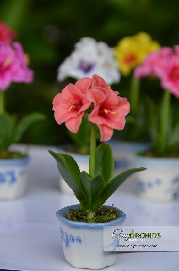 Yellow Flower Hibiscus Handmade Clay Plant Dollhouse Miniature Garden Accessory