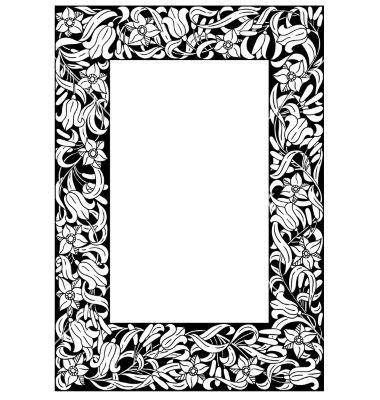 Fairytale flower frame retro vintage gothic style vector | random ...