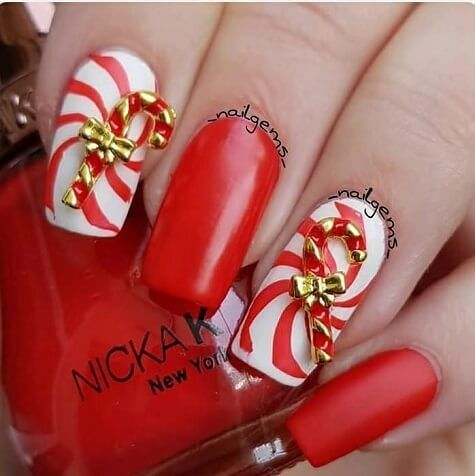 Candy Cane Nail Art Charms Candy Canes Candy Cane Nails And Gel