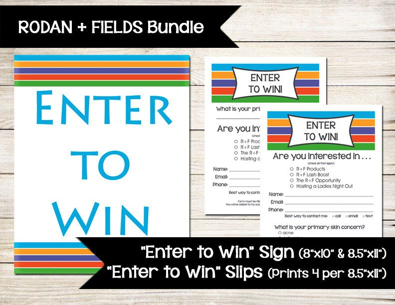 RODAN + FIELDS | Enter to Win | Sign | Door Prize | Drawing