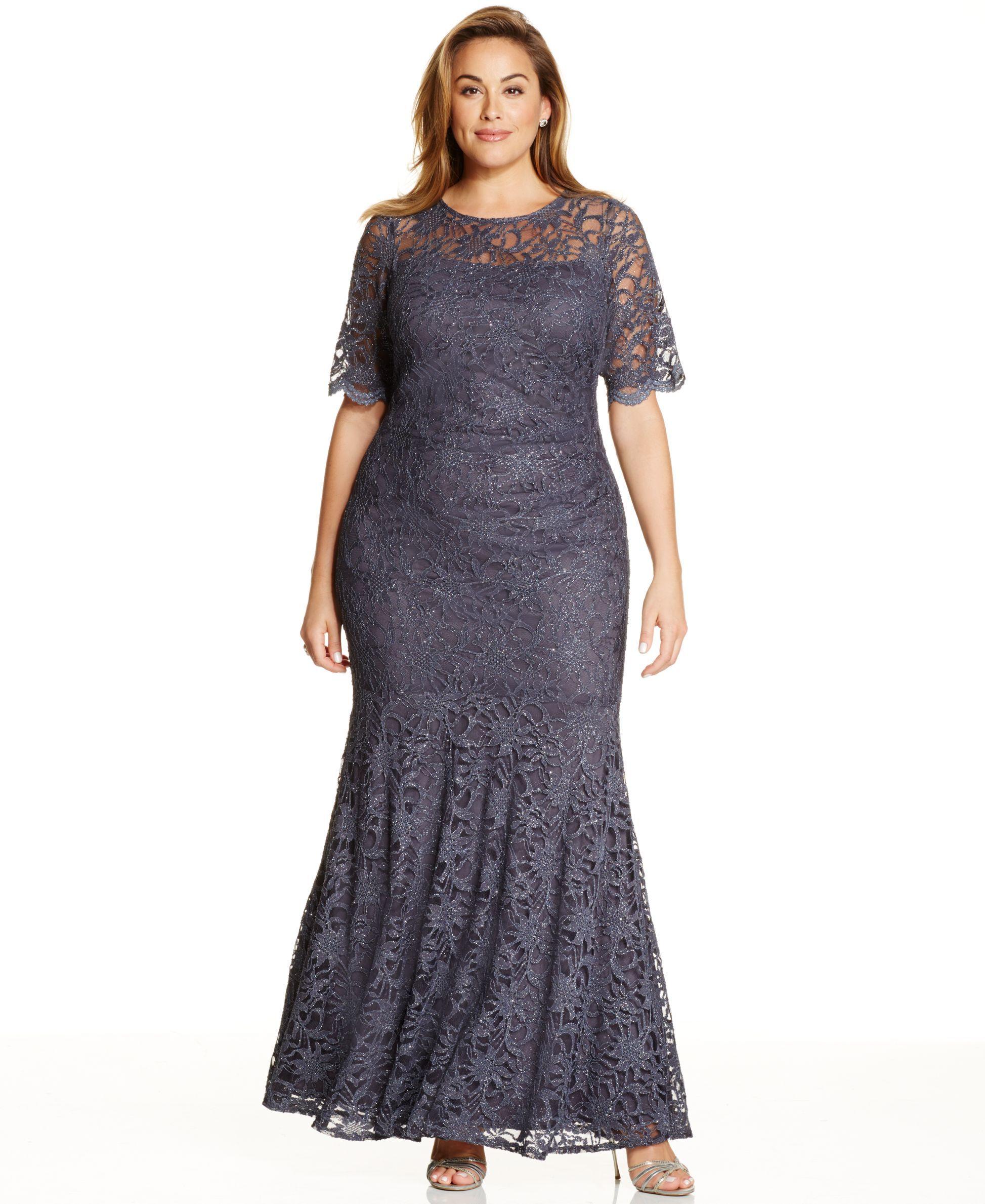 Xscape Plus Size Lace Shimmer Mermaid Gown | moda pluss | Pinterest ...