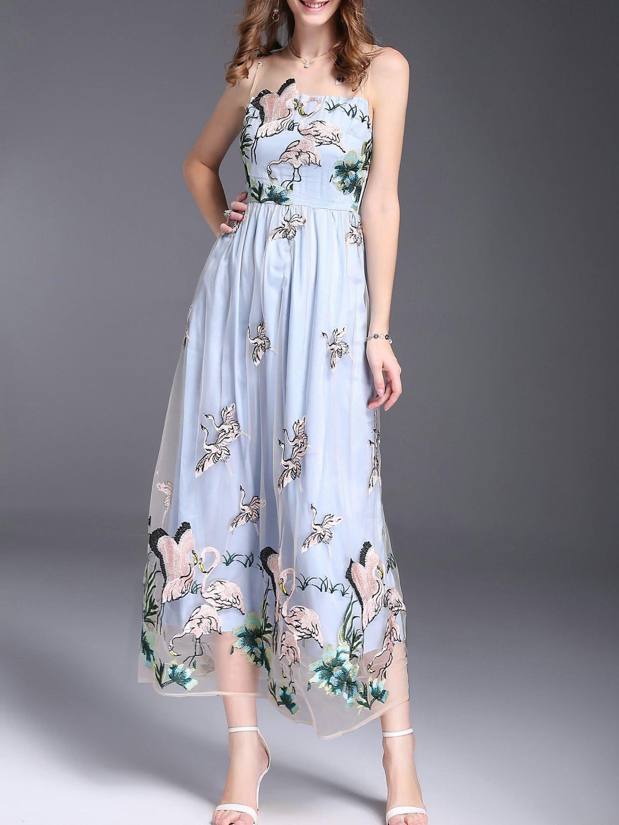 0c7f686bc6 Crane Gauze Embroidered Dress -SheIn(Sheinside)   Shein Boutique in ...