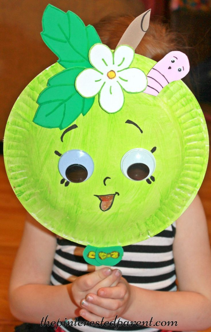 Paper plate mask inspired by shopkins green apple blossom for Mask craft for kids