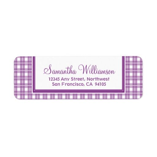 Gingham Plaid Return Address Labels (purple)