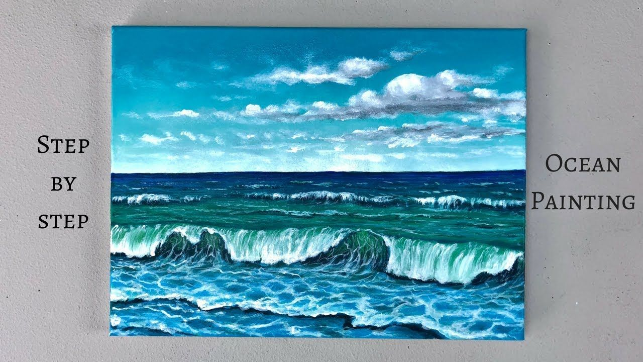 Colorbyfeliks Step By Step Ocean Painting Using Acrylics Ocean Paintings On Canvas Ocean Painting Ocean Landscape Painting