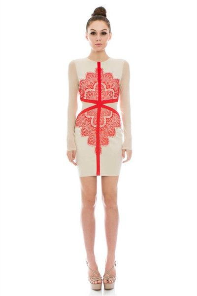 Flaunt & Center Lace Detail Long Sleeve Dress - Ivory + Red