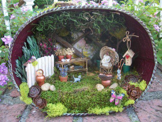 Miniature Garden Diorama Scene Lighted Handmade Ooak Fairy Garden Miniature Garden Mini Fairy Garden