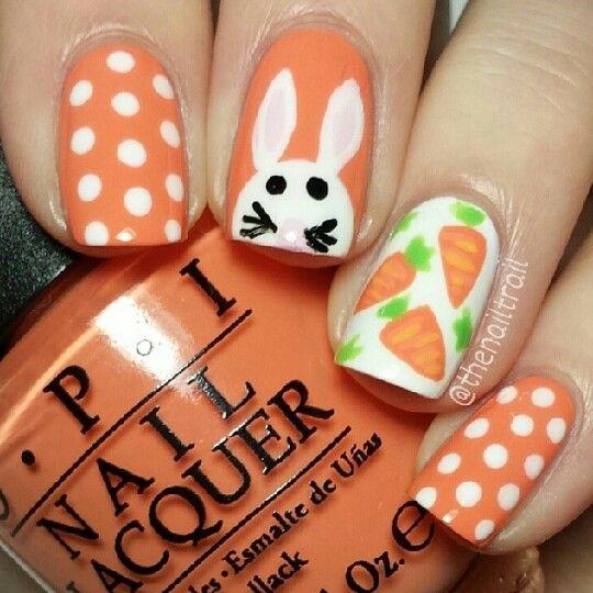 Rabbit And Carrot Nail Easter Nail Art Designs Easter Nail