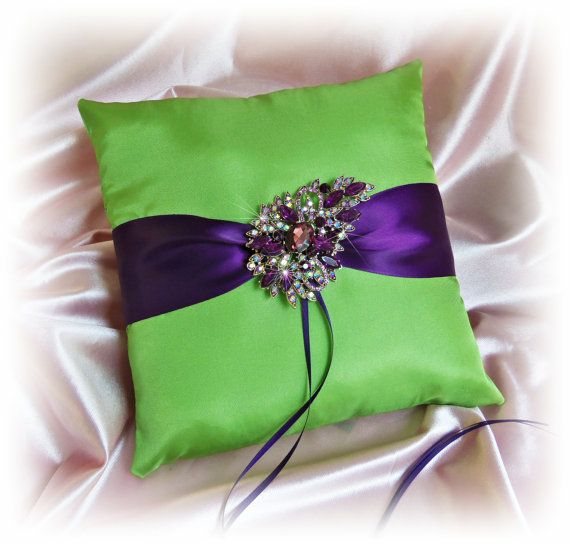 Grape purple and green peacock wedding ring pillow with ...