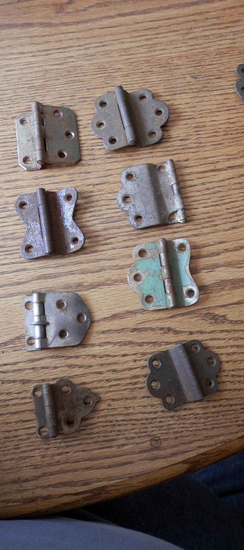 Pair Nickel Plated Hinge for Hoosier Wilson Sellers Napanee Cabinet