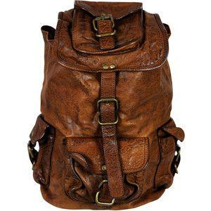 VIPARO Unisex Tan 13 Inch Vintage Style Leather Backpack Rucksack ...