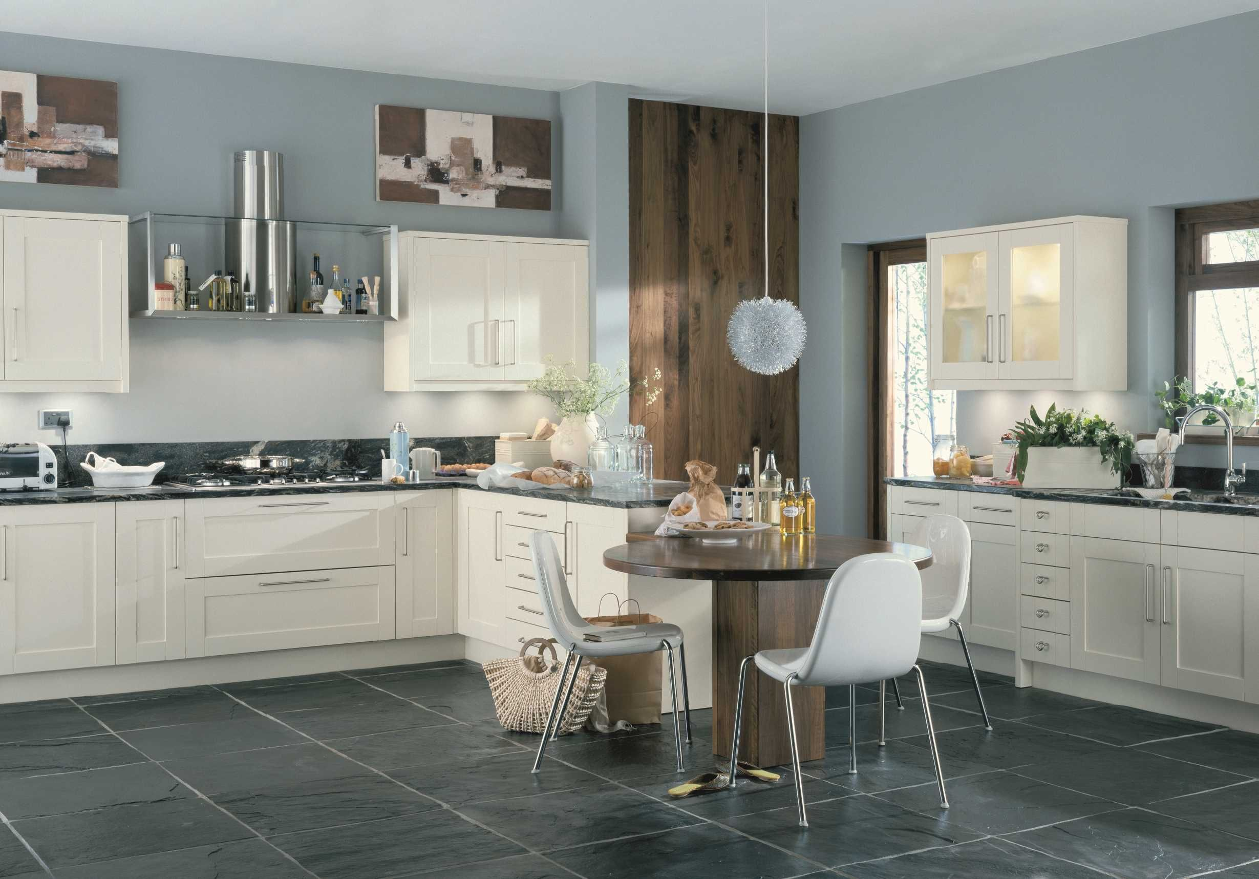 scope-ivory-blue-walls-white-kitchen-black-marble-worktop-kitchen ...