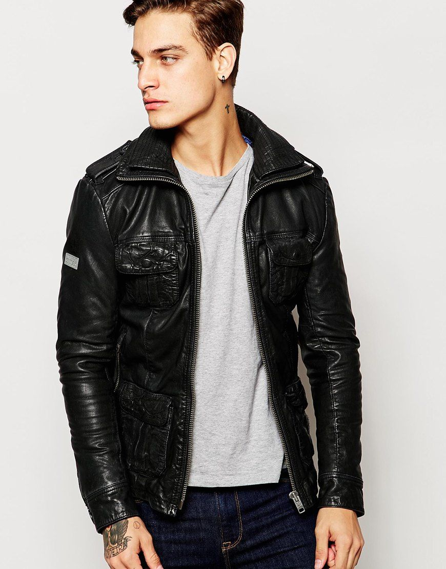 Superdry+Brad+Leather+Jacket | Arun's jackets | Pinterest ... : asos quilted leather jacket - Adamdwight.com