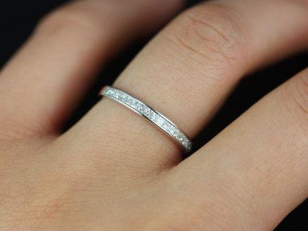 Rosados Box Charlene 14kt Thin White Gold Channel Set Princess Etsy In 2020 Big Engagement Rings Vintage Engagement Rings Wedding Ring Sets