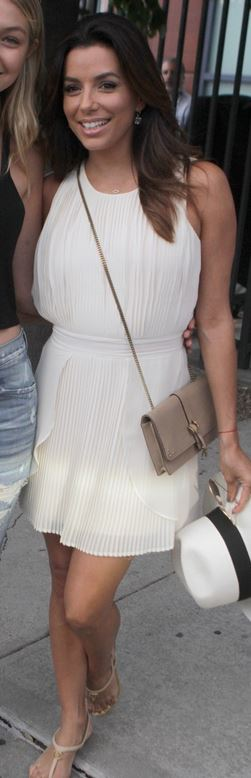 Who Made Eva Longorias White Pleated Dress, Nude Handbag -2847