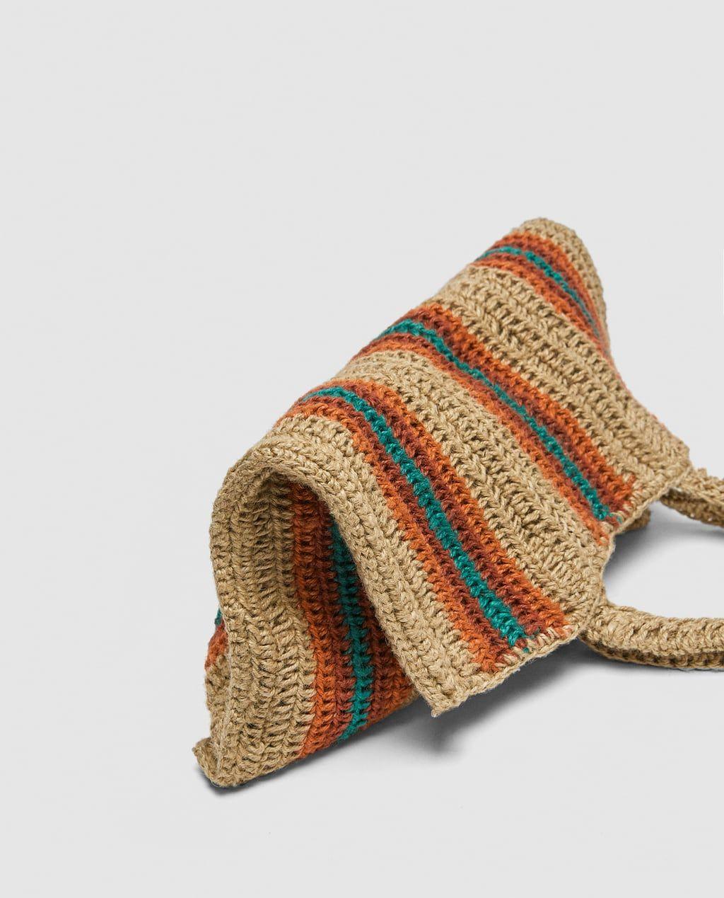 Fabric Bucket Bag View All Bags Woman Zara United Kingdom Fabric Bucket Hemp Bag Crochet Home