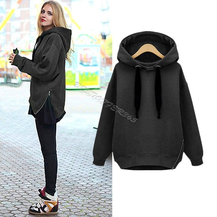 546d0f69424 Plus Size Women Hoodies Coat Warm Side Zip Outerwear Sweatshirts 3 Colors  Army Green White Black free shipping ...