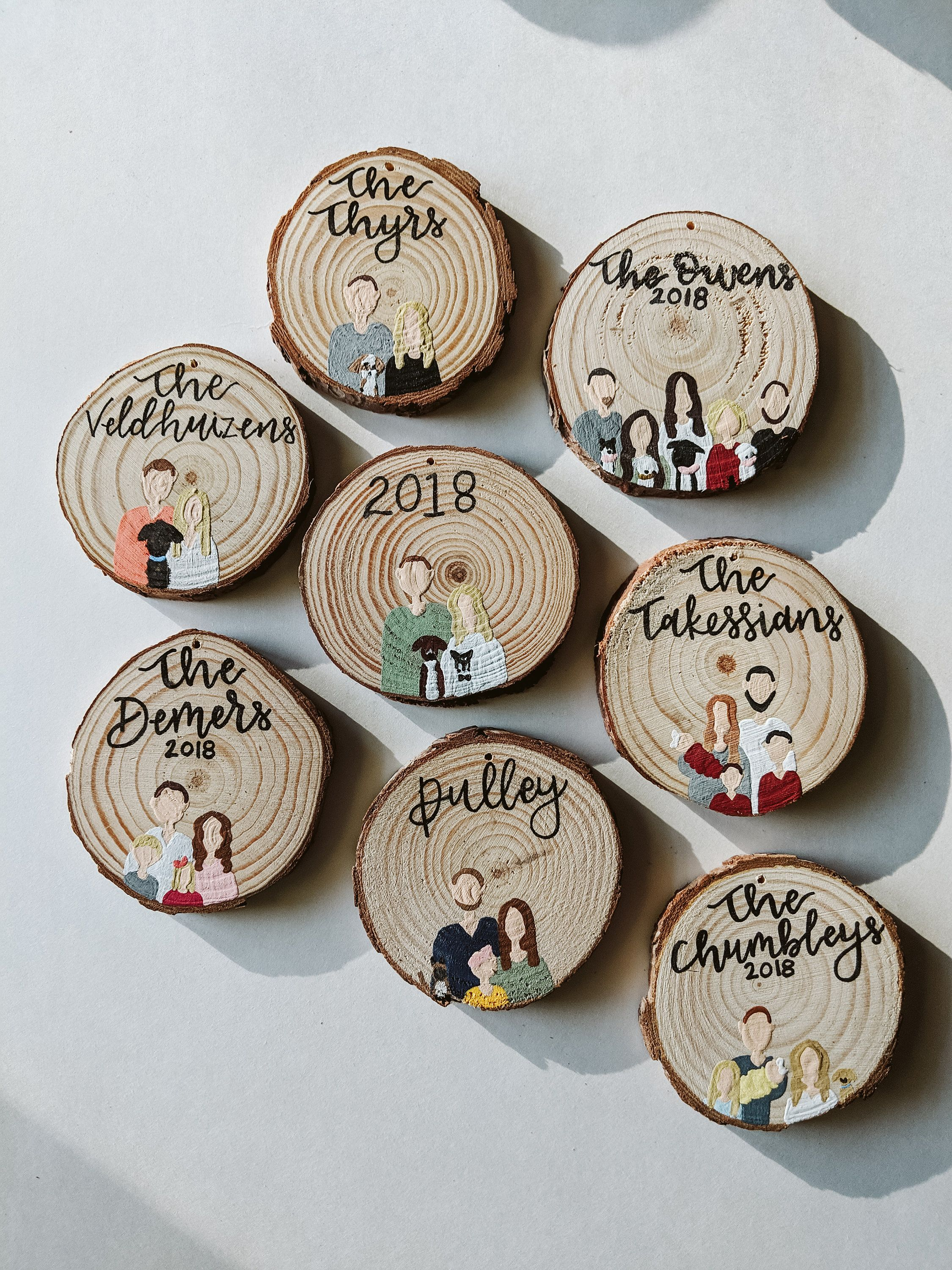 Hand Painted Wood Round Ornament Custom Magnet Family Etsy In 2021 Clay Christmas Decorations Family Christmas Ornaments Diy Christmas Gifts For Family