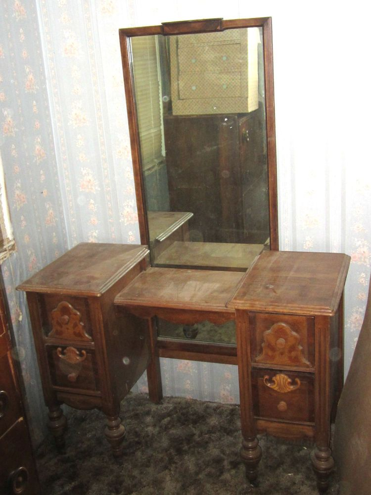 antique vintage 1800's 1900's yr? bedroom vanity makeup table with mirror  #Unbranded - Antique Vintage 1800's 1900's Yr? Bedroom Vanity Makeup Table With
