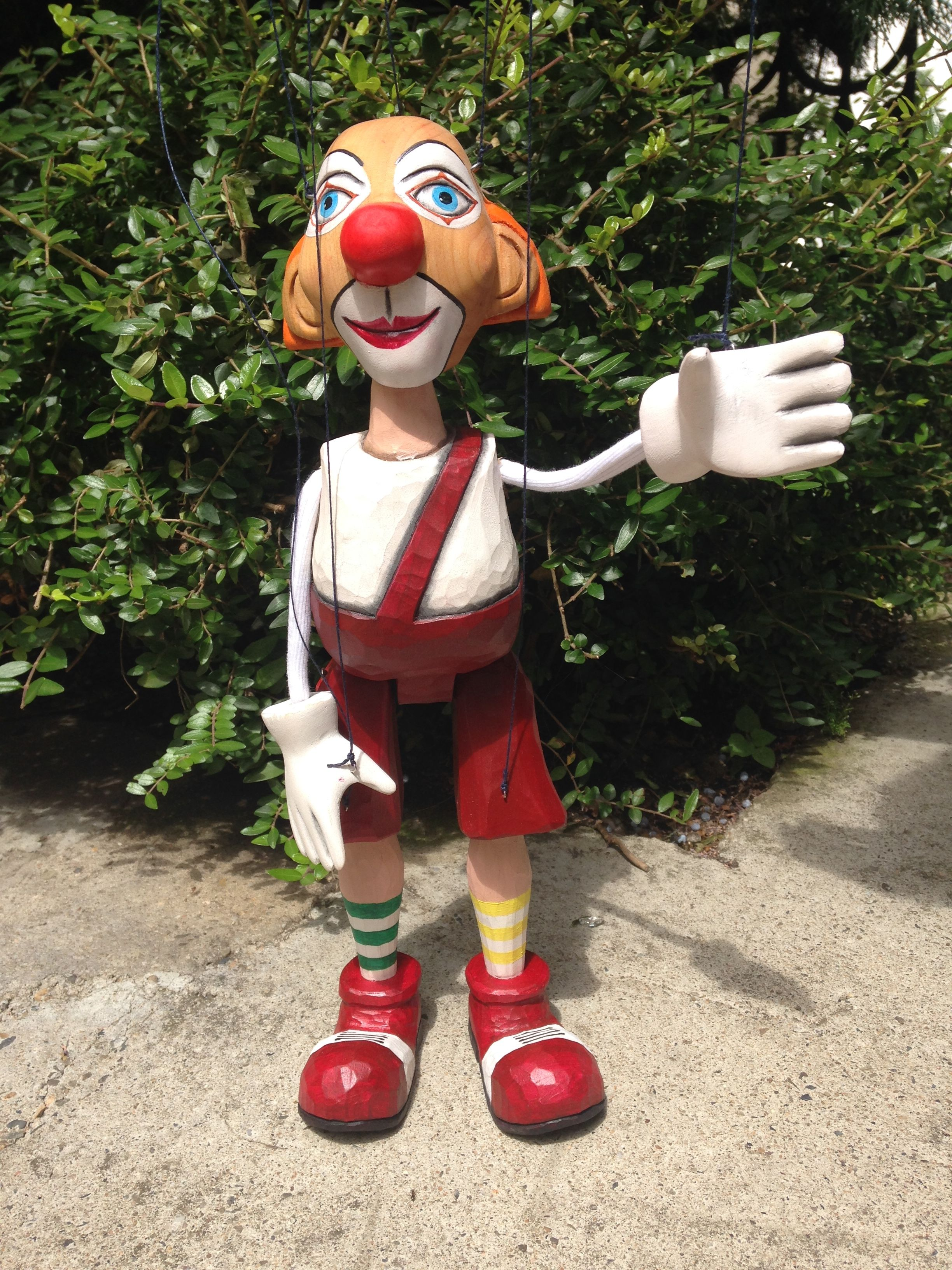 Hand carved wooden Clown Marionette!
