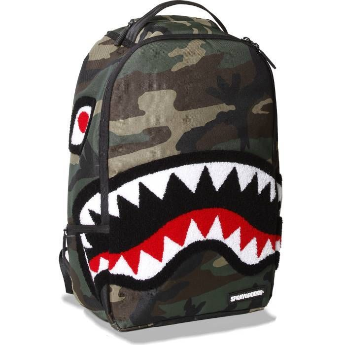 Bape Shark Backpack >> Sprayground Chenille Woodland Shark Backpack Bags In 2019