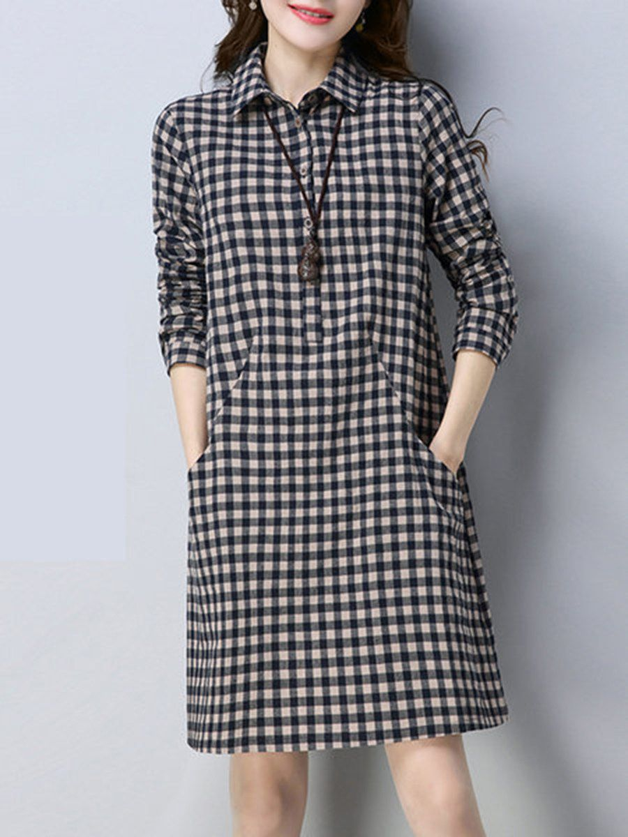 Turn Down Collar Plaid Cotton/Linen Shift Dress
