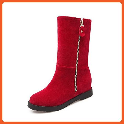 Women's Kitten Heels Frosted Solid Zipper Round Closed Toe Boots Red 37