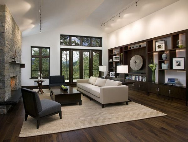 black walnut hardwood with natural finish and dark built ins hardwood floors living room design ideas pictures remodel and decor - Dark Wood Home Design