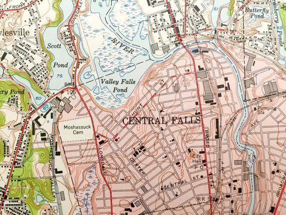 Topographic Map Rhode Island.Antique Pawtucket Rhode Island Massachusetts 1949 Us Geological