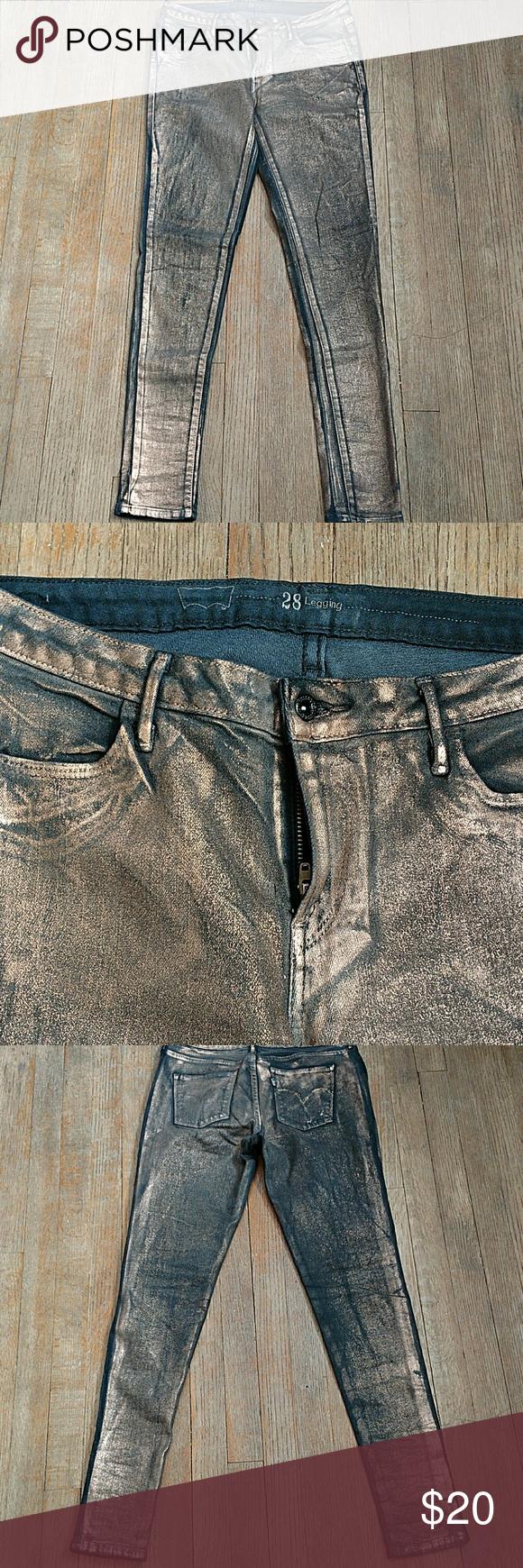 Levis Copper Coated Metallic Leggings Excellent condition Levi's Jeans Skinny