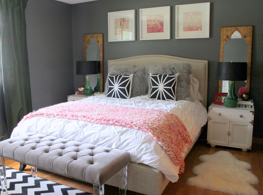 14 Grey Pink Green Bedroom Jpg 863 640 Pixels Woman Bedroom Bedroom Interior Interior Design Bedroom