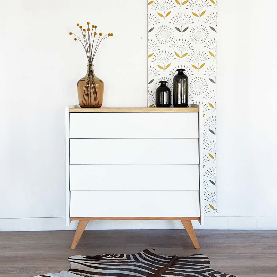 Commode Scandinave Pieds Compas Style Vintage Coloris Blanc Made In France Mid Century Modern Chest Of Drawers Mobilier De Salon Deco Chambre Deco Maison