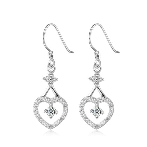 [$1.57] Fashionable Zircon Encrusted Silver Plated Leaf