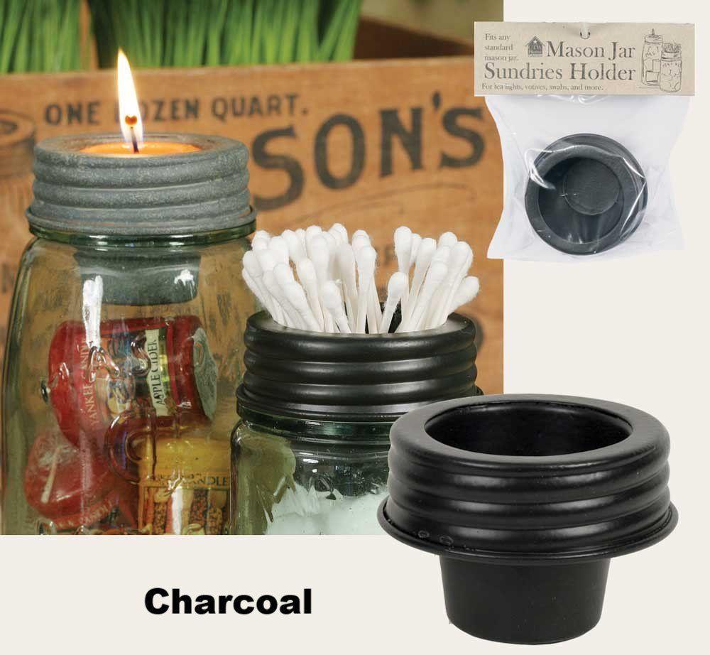 Mason Jar Tapered Cup Lid - Charcoal