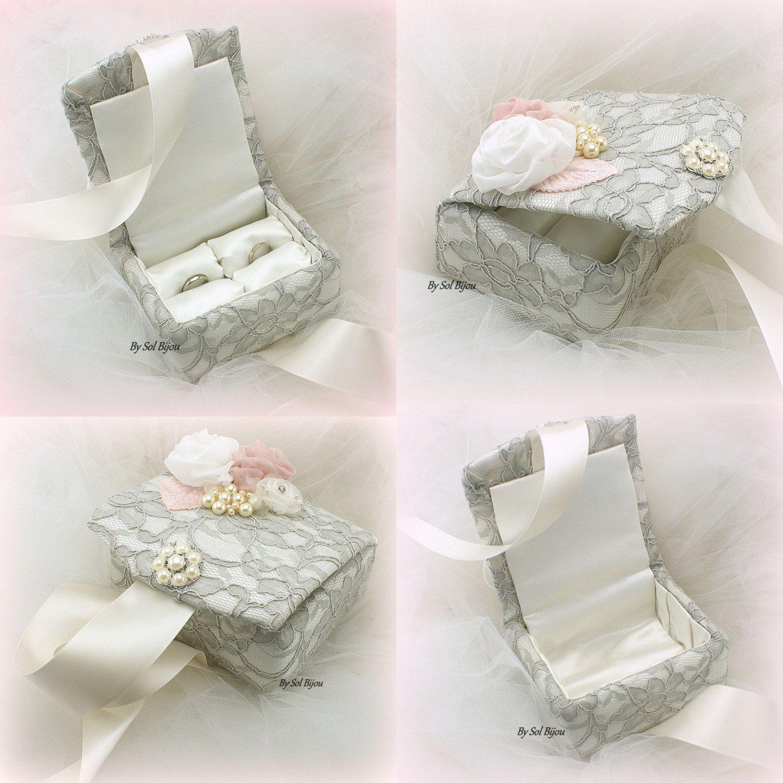 Ring Bearer Box, Ivory, Gray, Silver, Blush, Alternative