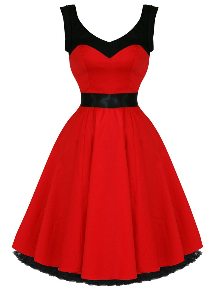 Hearts Roses Grace Dress in Red Black Full Circle Rockabilly Prom ...