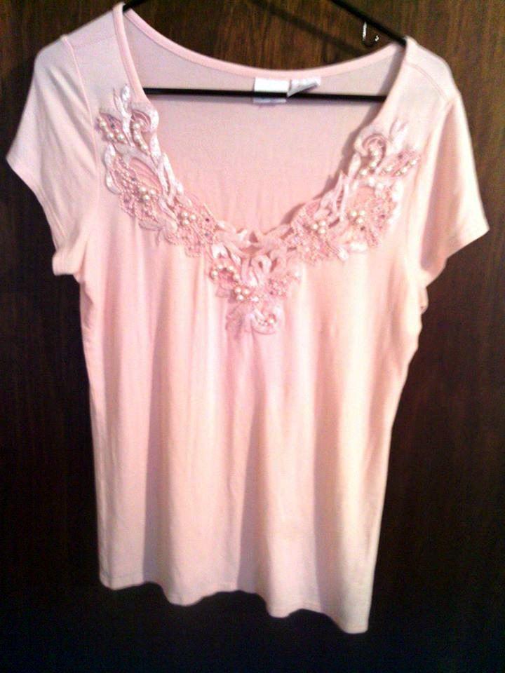 Ladies Med Pink Short Sleeve Decorative Pearl Beads V-Neck Blouse $2.50 @eBay
