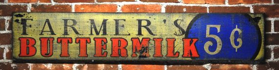Rustic Hand Made Vintage Wooden Sign Farmer/'s Buttermilk Wood Sign