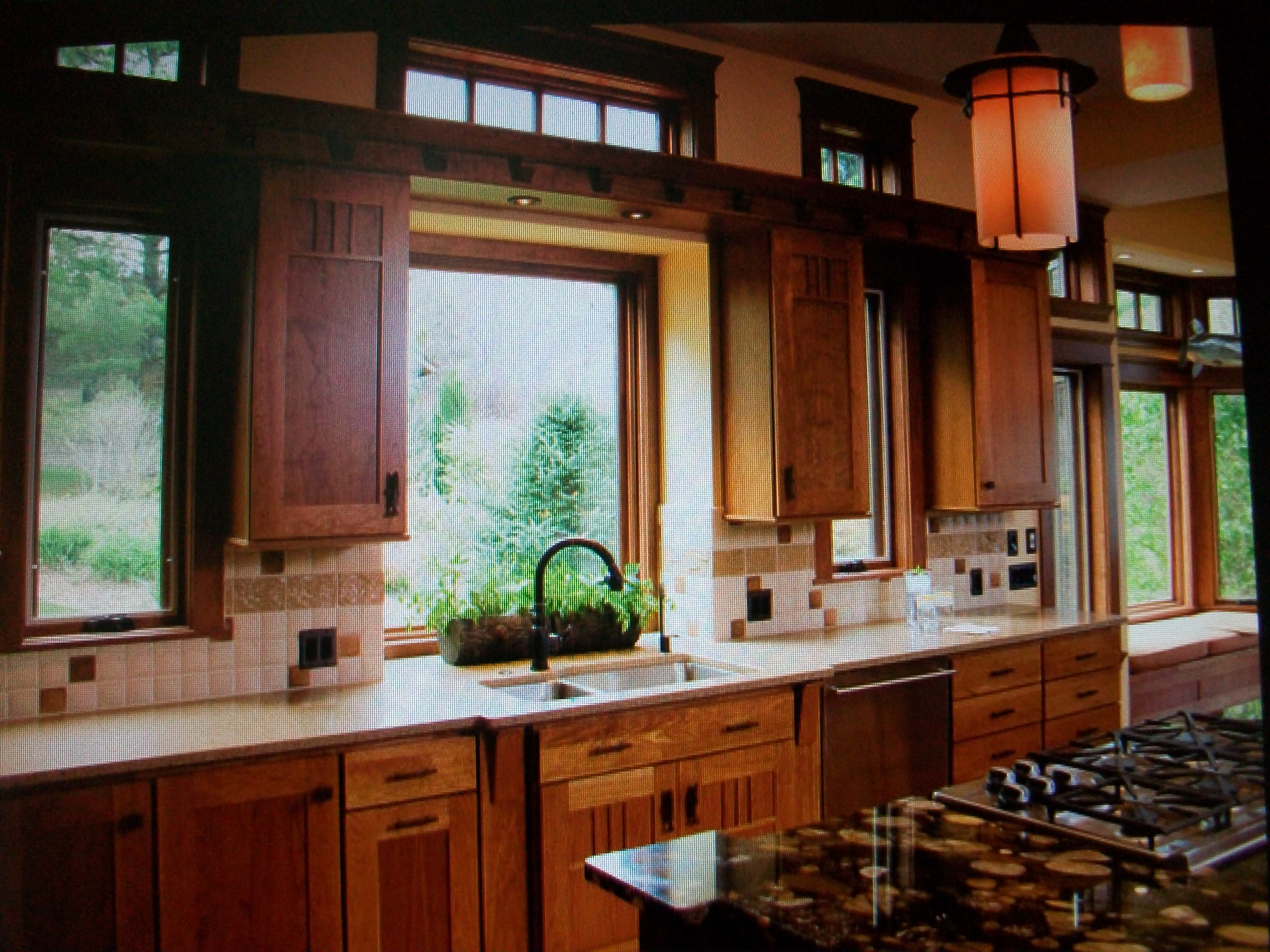 Mission Style Kitchen Lighting Dark Wood Kitchen Cabinets And Window Views Stained Glass Pendant
