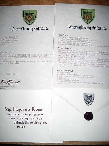 Durmstrang Institute Acceptance Letter Personalized Durmstrang! dumbledore yells,and stiles turns his head as he watches them walk in. durmstrang institute acceptance letter