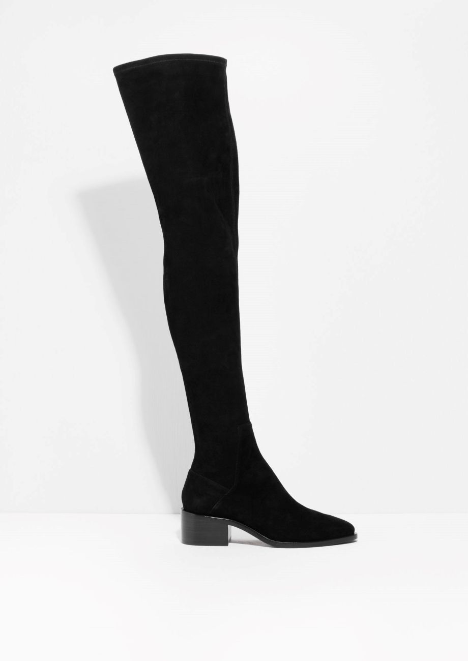 Suede Over The Knee Boots   Black   & other stories, Other and Boots