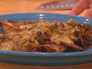 Rachel Ray's Texas-size chili cheese fries.  YUM!!  Jon's special dish.