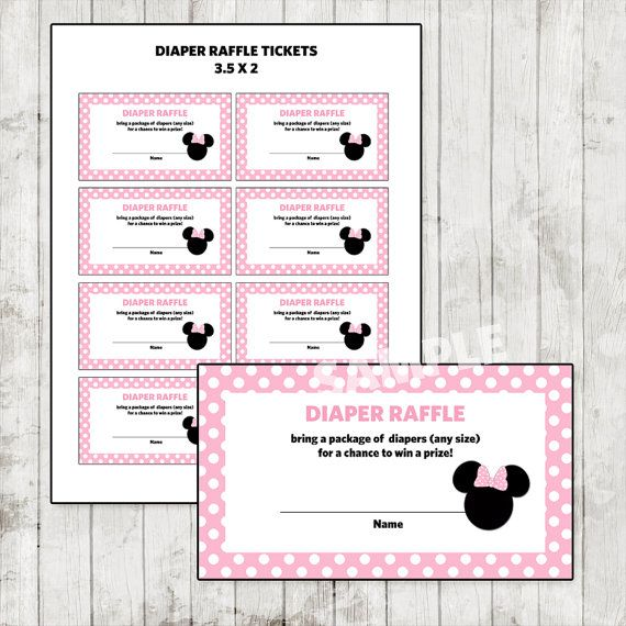 Minnie Mouse Baby Shower Diaper Raffle Ticket by DesignsByDee13 - raffle ticket