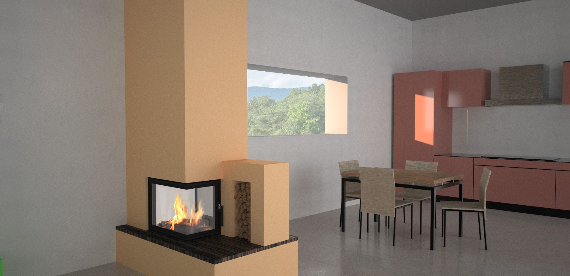 Transparent fireplace insert, both doors with side opening …