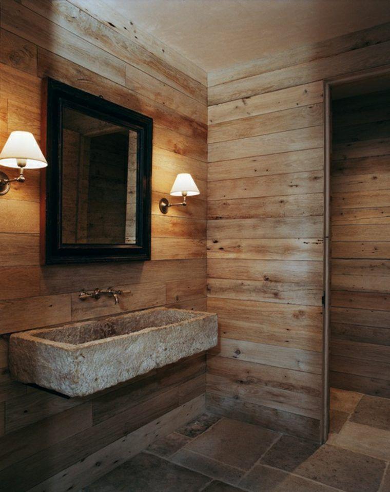 Salle de bain rustique - Pierres, bois, carrelage. Ambiance ...