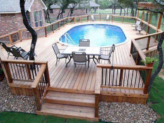 12 Above Ground Swimming Pool Designs Pool Deck Plans Above Ground Pool Decks Backyard Pool